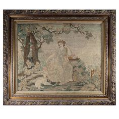 Fine Antique Petitpoint Needlepoint Tapestry in Frame, Frame Stand, Weaving Techniques, Fabric Covered, Wall Tapestry, Needlepoint, Vintage World Maps, Artsy, Antiques, Ebay
