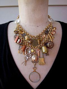 Vintage Necklace  Charm Necklace Steampunk Necklace by rebecca3030