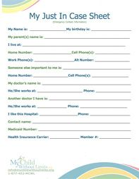 Printable emergency contact form template random for Daycare information sheet template