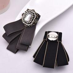 Collar de cristal de oro de la vendimia Blusa Camisa de Mujer Broche de punta con corbata de moño