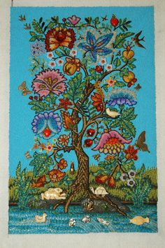 Gay Huntley, Tree of Life, bead embroidery, approximately 12 by 19 inches