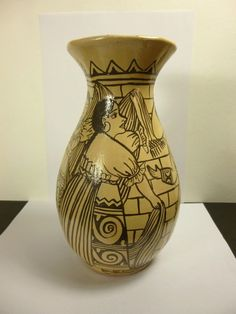 Hand made stoneware pottery mission bell vase signed walt glass 75 10 t 6 w pinterest - Glass art by artis ...