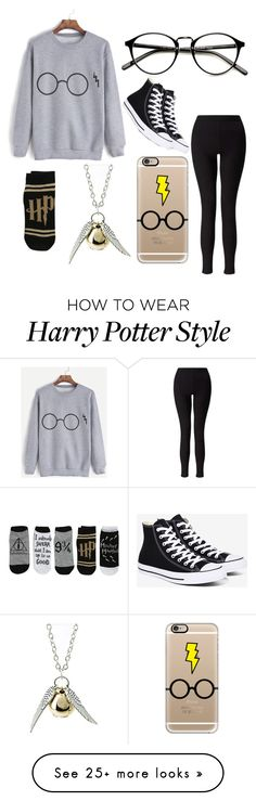 """""""Harry potter"""" by colourlessheart on Polyvore featuring Miss Selfridge, Casetify, Quiksilver and Converse"""