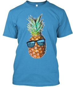 Beachin Pineapple Heathered Bright Turquoise  T-Shirt Front