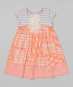 Look at this Papaya Abstract Babydoll Dress - Toddler on #zulily today!