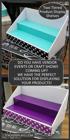 Stack Displays Product Displays & Accessories for displaying your products at craft shows, vendor events, farmer's markets or in retail locations. Use in your home office or craft room to organize your products or supplies.