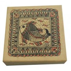 Mukti Art Gallery Tea Coaster Box with Mithila Painting