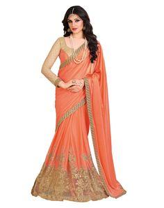 Orange Lycra Party Wear Saree 70699