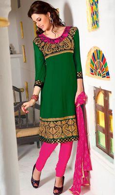 Fashionable Green Churidar Suit with Banarasi Brocade Price: Usa Dollar $89, British UK Pound £53, Euro66, Canada CA$97 , Indian Rs4806.