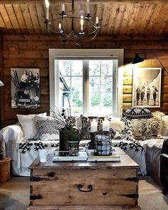 The most beautifully relaxing neutral cabin interior! Tiny House Cabin, Log Cabin Homes, Dark Interiors, Cabin Interiors, Hall Interior Design, Modern Log Cabins, Contemporary Cabin, Cabin In The Woods, Decoration