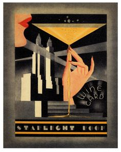 vintage art deco wine card from The Starlight Roof at the Waldorf Astoria Hotel in New York (1934)