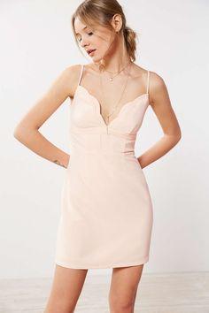 Kimchi Blue Scalloped V-Neck A-Line Mini Dress - Urban Outfitters