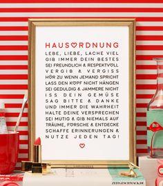 Wanddeko - Liebevolle Hausordnung 1 - Bild Poster Druck - ein Designerstück von Zeitgeschmack bei DaWanda