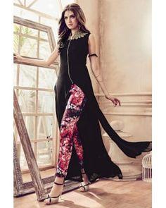 b80aa27f07 Latest Black Faux Georgette Straight Cut Pant Suit Latest Salwar Kameez