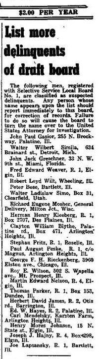 Transcription: Draft Board Delinquents, Arlington Heights Herald, January 29, 1943