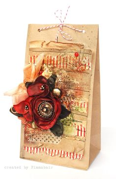 Mixed media gift bags on simple brown paper lunch bags