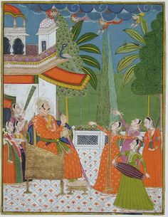 A raja on a throne being entertained by dancers and musicians - ca. 1775 Edwin Binney 3rd Collection The San Diego Museum of Art