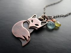 Rustic Copper Fox with Aqua Blue Apatite and by LostSparrowJewelry, $35.00
