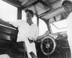 "Hemingway aboard ""Pilar"" with Carlos Gutierrez in 1934. Courtesy: John F. Kennedy Presidential Library and Museum"