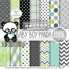 https://www.etsy.com/mx/listing/216131683/pandita-nino-fondos-digitales-papeles #panda #teddybear #babyshower #itsaboy #nurserydecor #babiesroomdecor #ideas #kawaii #clip