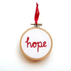 Hope Christmas Tree ornament embroidery hoop