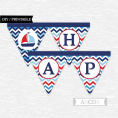 Instant Download Red Blue and Navy First Happy by abcdeparty