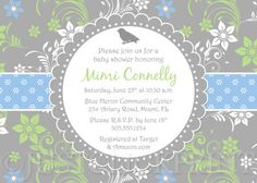 Spring Fling Floral Damask Baby Shower Invitation - Printable UPRINT
