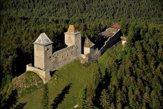 Aerial view of the castle Kašperk, Kašperské Hory, Šumava Witches Castle, Castle Pictures, Fantasy Castle, Castle Ruins, Magical Forest, Beautiful Castles, Architecture Old, Beautiful Places In The World, Fantasy Landscape