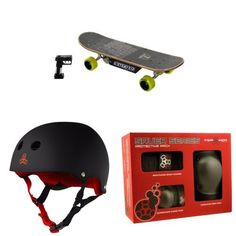 Dynacraft Surge Electric Skateboard, Black/Green with Triple 8 Helmet and Pad Set Electric Skateboard, Have Fun, Image Link, Texas, Stripes, Note, Usa, Amazon, Awesome
