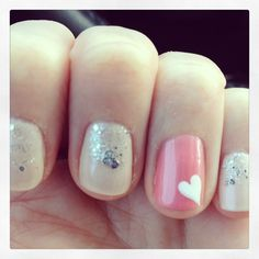Glitter and heart nail design
