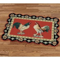 3' x 5' rooster hooked rug, french country rooster rug in red and