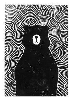 Lino cut of a black bear. James Moffitt...