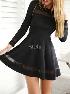 Kleid Langarm mit Tüll-schwarz 18.39