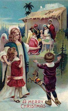 Vintage Christmas Nativity Postcard