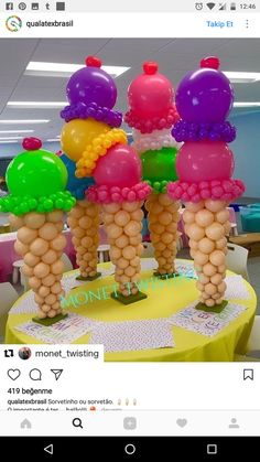 Tall, large centerpiece Ice Cream cones made out of balloons. Balloon Arrangements, Balloon Centerpieces, Balloon Decorations Party, Birthday Decorations, Ice Cream Balloons, Balloon Crafts, Balloon Balloon, Balloon Party, Balloon Ideas