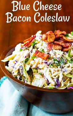 Healthy Coleslaw Recipes, Best Coleslaw Recipe, Veggie Dishes, Vegetable Recipes, Food Dishes, Side Dishes, Salad Dressing Recipes, Salad Recipes, Blue Cheese Coleslaw