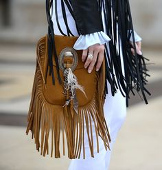 Anita Small Suede Fringe Flat Bag in Paris.