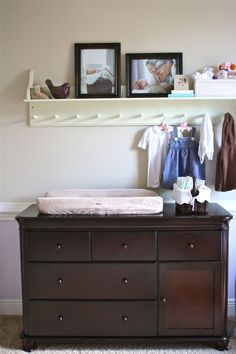 cute idea to add a shelf with hooks above the dresser/changing area. And it would still be useful when the changing table is no longer necessary. Owl Themed Nursery, Nursery Decor, Nursery Ideas, Baby Boy Nurseries, Modern Nurseries, Baby Furniture, Children Furniture, Taupe Walls, Getting Ready For Baby