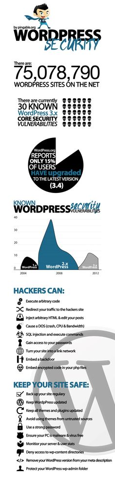 WordPress security infographic showing the range of vulnerabilities WordPress can have if you don't update