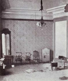 Grand Duchess Olga, Tatiana,Maria and Anastasia's room in the Ipatiev house after their murders in 1918.