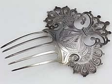 Dominick and Haff Antique Sterling Silver Hair Comb, 1878