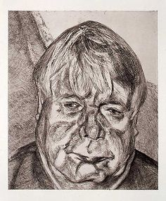 """Lucian Freud, """"Donegal Man,"""" 2007  Etching on Somerset white paper,"""