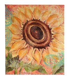 Susan Winget Boho Sunflower Hand Embellished Canvasellished Canvas