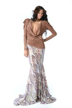 Nude Sequin Mermaid Skirt by  michael costello
