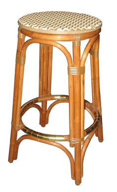 WA HOO DESIGNS, FRENCH BISTRO BACKLESS STOOL, HK-39, WEAVE: Cananage, COLORS: Matte Ivory Matte Moka, WOOD FINISH: LIGHT HONEY