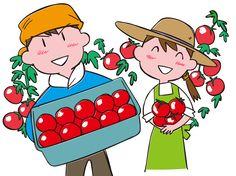 美味しいトマトをどうぞ トマト農家さん イラスト