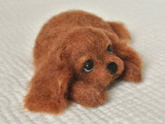 SALE Needle Felted Dog / Miniature Sculpture of Cavalier by HiMeg, $50.00
