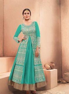 Sea Green exclusive wedding wear Pakistani anarkali suit in raw silk | Indian Ethnic Wear | Scoop.it