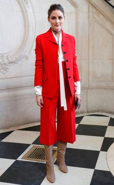 Lady in Red from Fashion Police  As a fashion guru herself, Olivia Palermo rocks a bright red outfit at Christian Dior's fashion show in Paris, France.