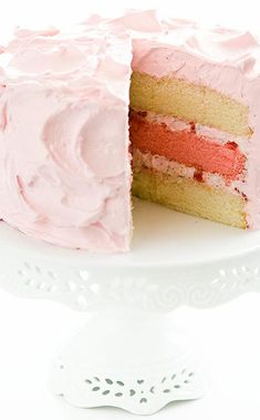Pink Azalea Cake: A three-layer white cake swathed in billowy seven-minute icing. It's the pretty pink hue-of the middle cake layer, the frosting, and the fruit-nut filling-that gives the cake its name and makes it perfect for springtime. Delicious Cake Recipes, Yummy Cakes, Dessert Recipes, Caramel Chocolate Bar, Chocolate Desserts, Daffodil Cake, Lumberjack Cake, Cake Illustration, Tea Time Snacks